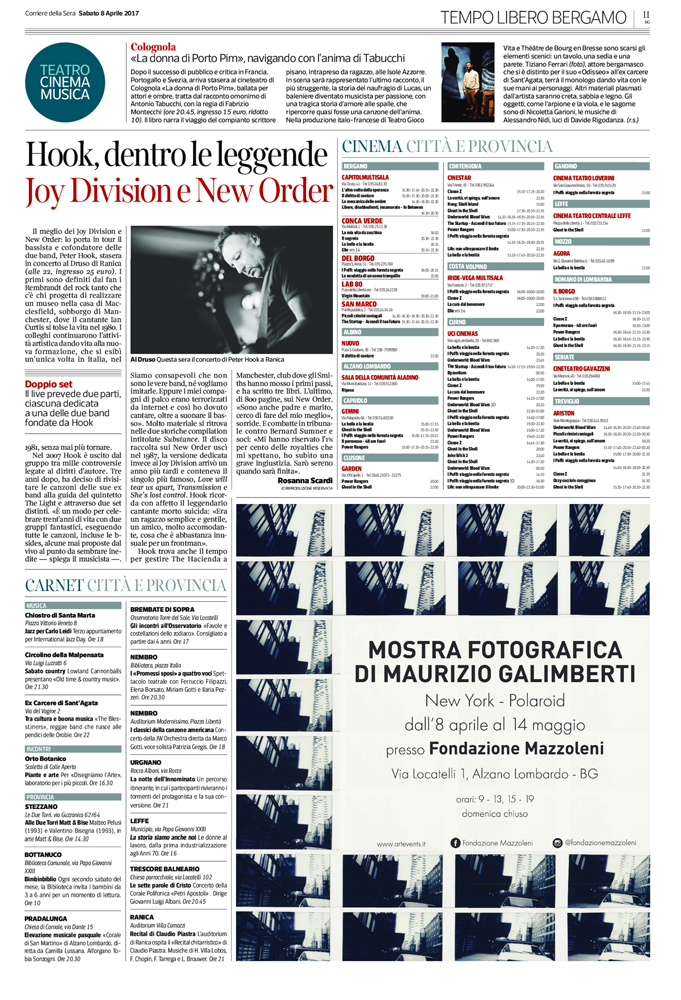 Inserzione pubblicitaria pubblicata su Il Corriere della Sera – sezione Bergamo Cultura per annunciare l'inaugurazione della mostra dedicata al fotografo Maurizio Galimberti, organizzata nelle sale della Fondazione Mazzoleni ad Alzano Lombardo.