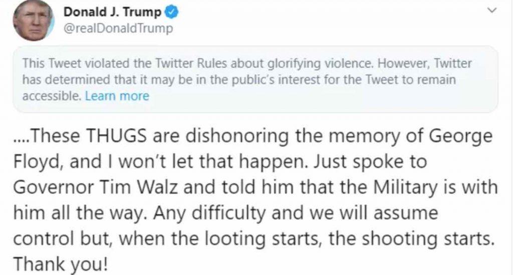 Il Tweet di Donald Trump con il quale esorta le forze dell'ordine a sparare ai manifestanti.